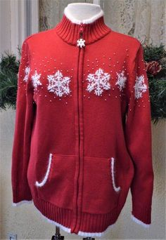 Quacker Factory Zip Front Cardigan Sweater M Red Ivory Snowflakes Warmer Pockets #QuackerFactory #Cardigan #CasualParty