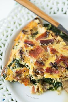 Wedding Bridesmaid Brunch. Luncheon, Breakfast Buffet. Crustless Bacon, Spinach, and Mushroom Quiche will be the star at your next brunch!