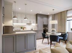 Bézs és szürke gyönyörű összhangban - háromszobás lakás elegáns és otthonos berendezése gyerekszobával