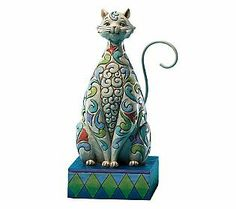 Jim Shore Heartwood Creek Cat with Tulip Pattern Figurine