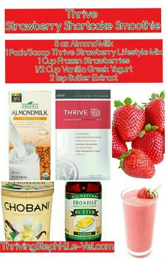 THRIVE Premium Lifestyle Mix comes in a variety of flavors, so you can make your THRIVE shake any way you want to. Learn more about THRIVE Mix. Thrive Diet, Thrive Le Vel, Thrive Shake Recipes, Healthy Life, Healthy Living, Healthy Habits, Healthy Snacks, Thrive Experience, Frozen Strawberries