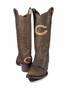 These could be cute and comfy under my dress! They'll make anything with an NFL team logo, won't they? Take a look at this Brown Chicago Bears Flyover Cowboy Boots - Women by Old Pro Leather Goods Co. Cowboy Boots Women, Cowgirl Boots, Western Boots, Riding Boots, Camo Shoes, Sock Shoes, Shoe Boots, Chicago Bears Women, Sport Outfits