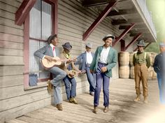 """Waiting for the Sunday boat."" Florida, circa 1902. 8x10 inch dry plate glass negative by William Henry Jackson, Detroit Publishing Co. Colorized from Shorpy's files. Shorpy Historical Photo Archive :: Florida Dance (Colorized): 1902"