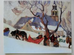 $4.50  Contemporary OF Group OF Seven Card Coming Back From Church BY Clarence Gagnon | eBay  #holiday #stationary #greetingcard