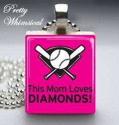 This Mom Loves Diamonds Necklace baseball by prettywhimsical, $8.99