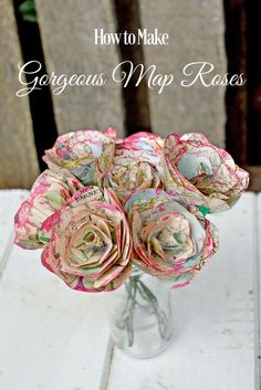 How to Make Simple but Beautiful Map Roses Pillar Box Blue is part of Map crafts - For a lovely alternative decoration, a tutorial for how to make some beautiful map roses The paper flowers also make for a lovely homemade valentine's gift Flower Crafts, Diy Flowers, Fabric Flowers, Rose Crafts, Book Flowers, Paper Flowers For Wedding, How To Make Flowers Out Of Paper, Real Flowers, Map Crafts