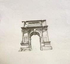 Arch of Titus pencil drawing
