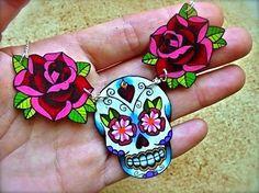 sugar skull and rose tattoo necklace day of the dead (dia de los muertos calavera) $31