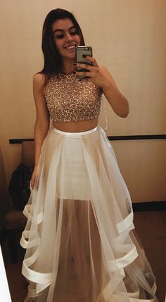 2017 Gorgeous 2 Pieces Beading Bodice Prom Dress Crew Neckline A Line Evening Dress