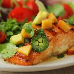 Maple Mustard Salmon Recipe by Tasty Vegan Keto Recipes, Dairy Free Recipes, Healthy Recipes, Healthy Meals, Salmon Recipes, Fish Recipes, Seafood Recipes, Maple Mustard Salmon, Tastemade Recipes