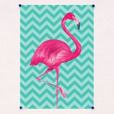Chevron Flamingo Print in by WeArePaperPlane on Etsy Flamingo Wallpaper, Mickey Mouse Wallpaper, Flower Phone Wallpaper, Wallpaper Iphone Cute, Poster Flamingo, Flamingo Art, Notebook Cover Design, Salon Art, Mini Canvas Art