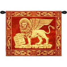 Woven in Italy History: Leone Rosso is an Italian jacquard woven wall tapestry. This work depicts the Lion of Saint Mark, representing the evangelist St Mark, p Republic Of Venice, Italy History, Latin Phrases, Wall Decor, Wall Art, Jacquard Weave, Tapestry Wall Hanging, Lion, Symbols