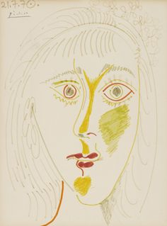 Pablo Picasso (1881 – 1973) TÊTE DE FEMME Signed Picasso and dated 21.7.70. (upper left) Felt-tip pen on paper 12 1/2 by 9 3/4 in. 32.4 by 24.8 cm Executed on July 21, 1970. Sotheby's