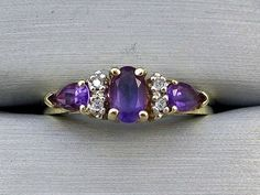 10K Solid Yellow Gold Genuine .67CT Amethyst and Diamond Ring - Size 7 #Band