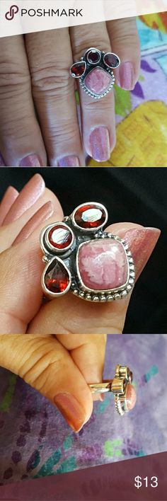 Sterling Silver Garnet Stone Ring Earth Art hand crafted artisan ring in solid sterling silver setting hallmarked 925. Rich deep color faceted garnets and beautiful pink Rhodocrosite! Unusual and interesting design! NEW. Earth Art hand crafted artisan  Jewelry Rings
