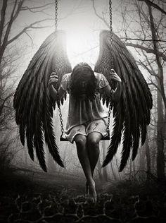 Looking for new sexy fairy angel tattoo design ideas? Fantasy Kunst, Dark Fantasy Art, Dark Art, Gothic Angel, Gothic Art, Engel Tattoos, Sad Angel, Angel Drawing, Angel Warrior
