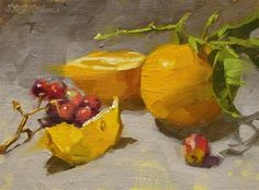 """Daily Paintworks - """"Cut Lemon & Grapes"""" - Original Fine Art for Sale - © Karen Werner"""
