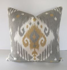 Guest Bedroom -  Both Sides - Ikat Decorative Throw Pillow Cover - 18x18  inches - $42.