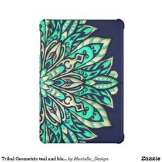 Tribal Geometric teal and blue Mandala iPad Mini Cover
