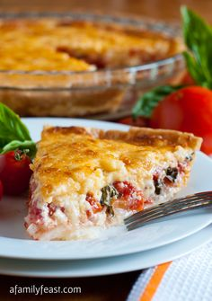 Tomato Pie Recipe ~ Says: This delicious savory pie combines fresh tomatoes, basil and sweet onions in a pie crust with a zesty topping of sharp cheddar cheese, mayonnaise and a little bit of hot sauce.  This tomato pie is so delicious – it's almost addictive! And a great way to use the last of your garden tomatoes and basil...so good!