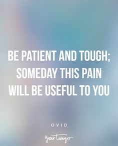 """""""Be patient and tough; someday this pain will be useful to you"""" —Ovid"""