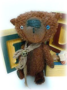 Artist Made Mohair Teddy Bear by Michelle-Stanley-Wooden Toy Airplane-Primitive Style Bear. $95.00, via Etsy.  #handmade