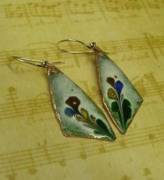 Copper Glass Enameled Earrings by sewsew25 on Etsy, $25.00