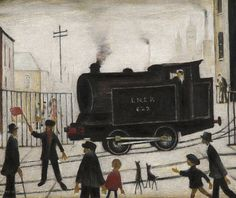 Laurence Stephen Lowry R. (British, Level Crossing with Train Banksy, English Artists, Art Uk, Naive Art, Urban Landscape, Contemporary Paintings, Unique Paintings, Fresco, Painting & Drawing