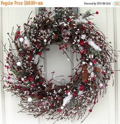 HOLIDAY WREATH SALE Holiday Wreath  Red Green & by Designawreath