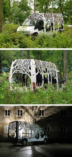 Dan Rawlings transformed a Ford transit van into an incredible forest by cutting trees into the metal exterior.