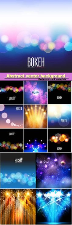 Abstract vector background and blurred lights on background with bokeh effect