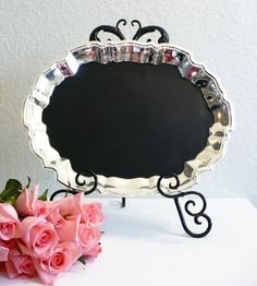 Glamorous Magnetic Chalkboard Blackboard Message Memo Inspiration Bulletin Menu Board for Kitchen Studio Office Weddings Bridal Shower Party Events Receptions Gourmet Valentines Gift her him Chef Foodie Present Valentine's Day Silver Vintage Antique @Rebecca May, we should have waited at the Auction!