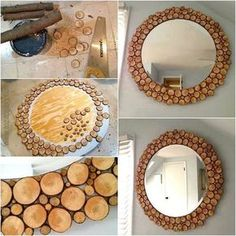 DIY mirror - New Kitchen Decoration Diy Crafts For Home Decor, Handmade Home Decor, Diy Wall Decor, Home Decor Items, Home Decor Accessories, Diy Barbie Furniture, Diy Furniture, Diy Holz, Diy Hanging