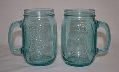 2 Vintage JACK IN THE BOX Bicentennial LIBERTY MUGS Blue Aqua MASON JAR Set #JackintheBox