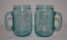 2 Vintage JACK IN THE BOX Bicentennial LIBERTY MUGS Blue Aqua MASON JAR Set #JackintheBox