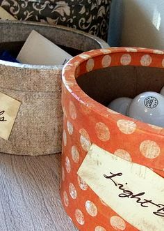 DIY storage containers made with scrapbook paper and modge podge - so cute & simple!