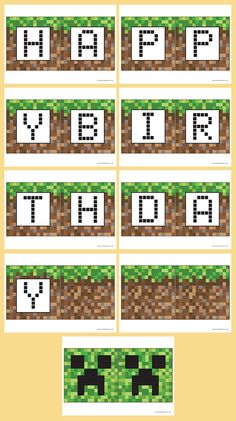 Printable Templates Minecraft inspired bunting Happy Birthday 9th Birthday Cake, Birthday Party Themes, Boy Birthday, Birthday Ideas, Happy Birthday, Minecraft Quilt, Minecraft Party, Homemade Birthday Cards, Homemade Cards