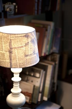 old book pages repurposed for lampshade - think I'll do thousands of lines from either Jane Austen or Shakespeare!