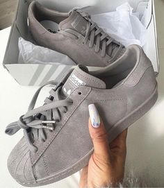 Stripeless Adidas Superstars by standforfashion
