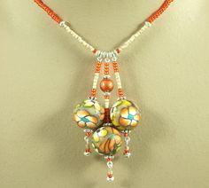 Orange Jewellery SET  Artist Bead 'In The Halloween by Louby, $26.00