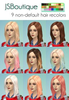 Hairstyles: 9 hair recolors from JS Boutique • Sims 4 Downloads