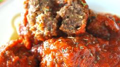 Delicious spaghetti meatballs. I use eggs instead of skim milk. They are bursting with flavor.