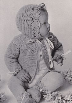 Vintage Crochet Pattern Flower Baby Saque Booties and Bonnet PDF