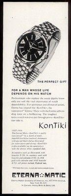 1959 Eterna Matic Kon Tiki Kontiki Diving Diver Watch Photo Vintage Print Ad…