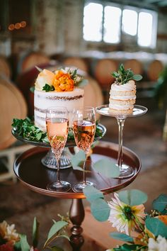 Petite Cakes and Champagne | Danaea Li Photography and A Day to Remember Events | Romantic Vintage Botanical Wedding Shoot at a Rustic Winery