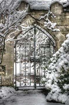 A wrought-iron Oxford gate on a snowy winter day.