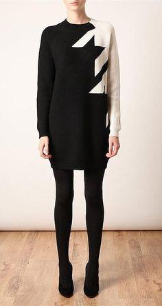 Phillip Lim Dress (Pre-owned Monochrome Houndstooth Merino Wool Net-a-Porter Designer Dress)