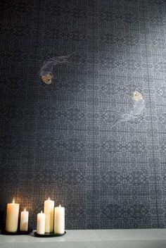 Porcelain stoneware wall tiles with textile effect AQUARIUM - @novoceram