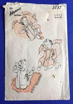 1940s Baby Toddler Dress Advance Pattern 3137 Sewing Girl Size 1 Vintage #Advance #Dress