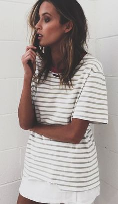 #summer #outfits White Striped Dress